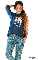 Спортивный костюм женский трикотажный меланжевые штаны и синий батник (оптом) Бирюзовый