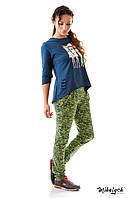 Спортивный костюм женский трикотажный меланжевые штаны и синий батник (оптом) Салатовый