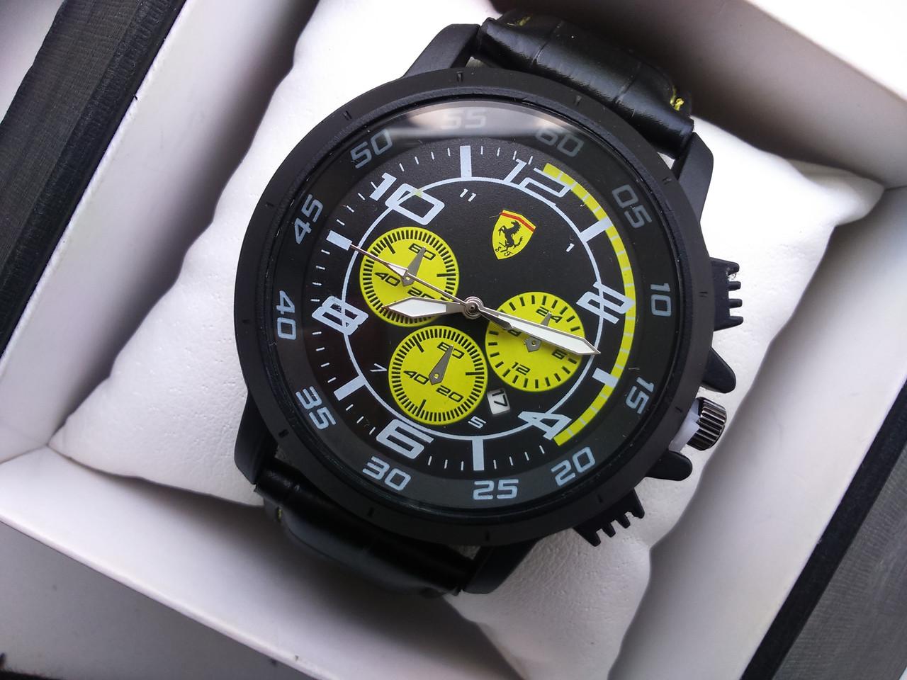 Часы наручные Ferrari чёрные с жёлтым реплика
