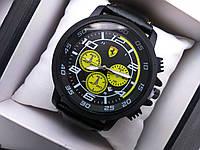 Часы наручные Ferrari чёрные с жёлтым реплика, фото 1