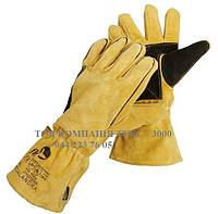 Перчатки спилковые с крагой Calandra, с кевларовой нитью