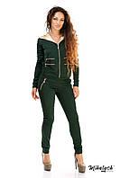 Классический женский спорт костюм с молниями Зеленый, 42