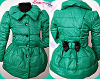 Красивая зеленая детская курточка плащевка синтепон на подкладе