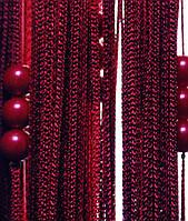 Шторы нити кисея однотонные лапша жемчуг с бусинами бордовая №4