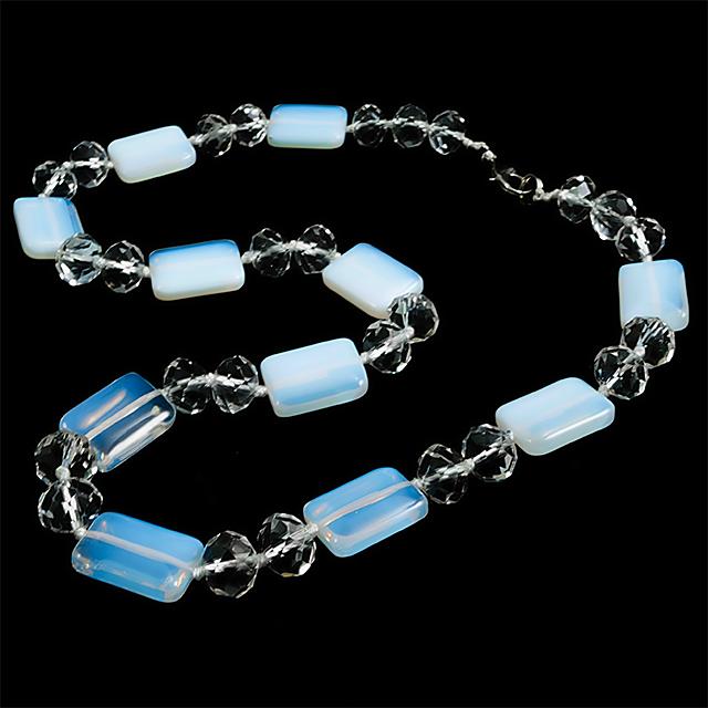 Лунный камень и хрусталь, ожерелье