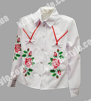 """Блузка для девочек с вышивкой """"Розы"""" украшенная бантиками"""