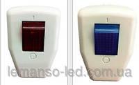 Вилка с заземлением Lemanso + кнопка синяя / LMA003