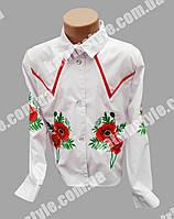 """Нарядная вышитая блузка для девочек """"Маки"""" с длинным вышитым рукавом"""