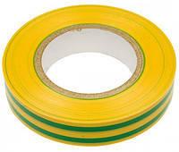Изолента Lemanso 10 метров желтая+2 зеленых полоски / LMA006