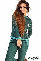 Спортивный костюм Fashion меланжевый трикотаж петля (оптом) Зеленый