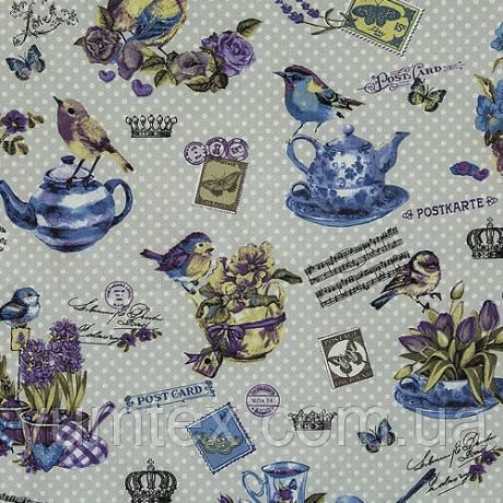 Ткань в стиле прованс Птички фиолетовые, на сером фоне в горошек