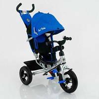 """Велосипед трехколесный Best Trike 5555: синий, надувные колеса 10 и 12"""", съемная ручка, 100х55х85 см"""