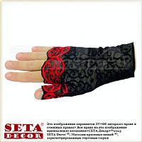 """Перчатки-митенки """"Испанка"""" гипюровые чёрные с красным"""
