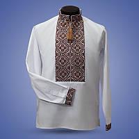 Мужская сорочка вышиванка коричневый орнамент