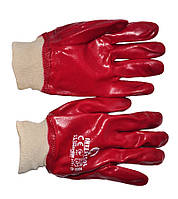 SP-0006W Перчатка маслостойкая х/б трикотаж покрытая PVC c вязаным манжетом (красная) (ящик 120пар)