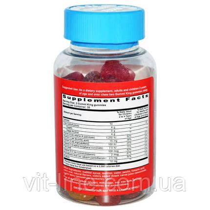 Мультивитамины для детей без сахара, 60 жевательных таблеток от Gummi King, фото 2