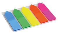 "Закладки пластиковые 12х45 мм, 5 цветов ""NEON - Стрелка"" по 25 листов. AXENT"