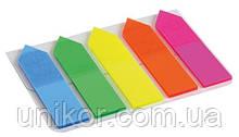 """Закладки пластикові 12х45 мм, 5 кольорів """"NEON - Стрілка"""" за 25 аркушів. AXENT"""