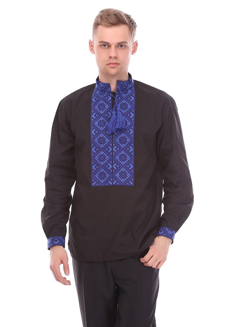 Мужская сорочка вышиванка синий орнамент