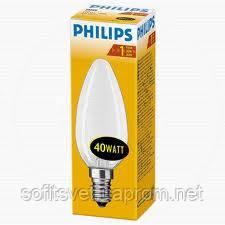 Лампа накаливания Свеча 40Вт E14 матовая Philips (16000048)