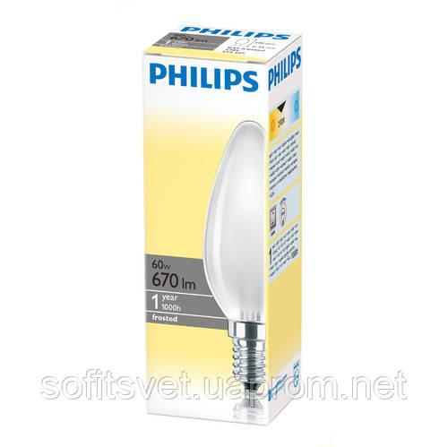 Лампа накаливания Свеча 60Вт E14 матовая Philips (16000158)