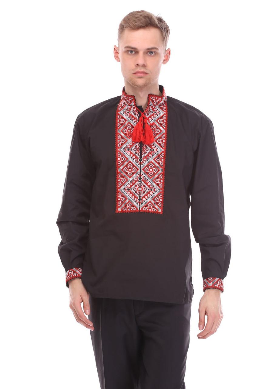Мужская сорочка вышиванка красный орнамент