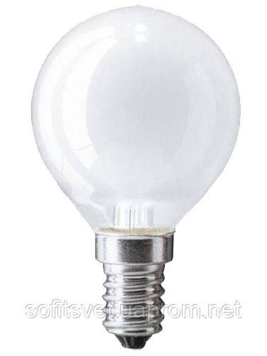 Лампа накаливания Шар 60Вт E14 матовая Philips (16007579)