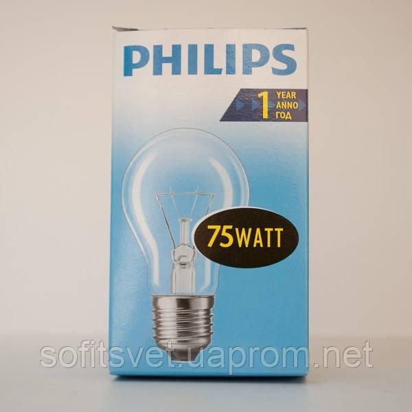 Лампа накаливания А55 75Вт E27 прозрачная Philips (16001404)