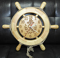 Деревянные часы Штурвал 48 см ручной работы. Подарок в морском стиле