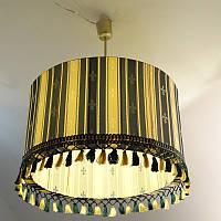 Люстра. Абажур цилиндр с бахромой зеленый/золото (52000153)