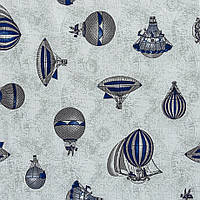 Ткань для штор воздушные шары, фон светло серый