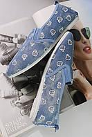 Мокасины женские  голубые с узором