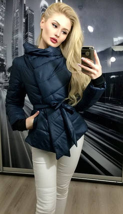 Куртка женская на синтепоне, синяя, фото 2