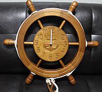 Деревянные часы Штурвал 56 см ручной работы. Подарок в морском стиле