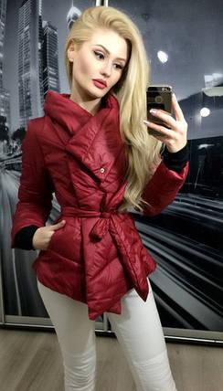 Куртка женская на синтепоне, бордовая, фото 2