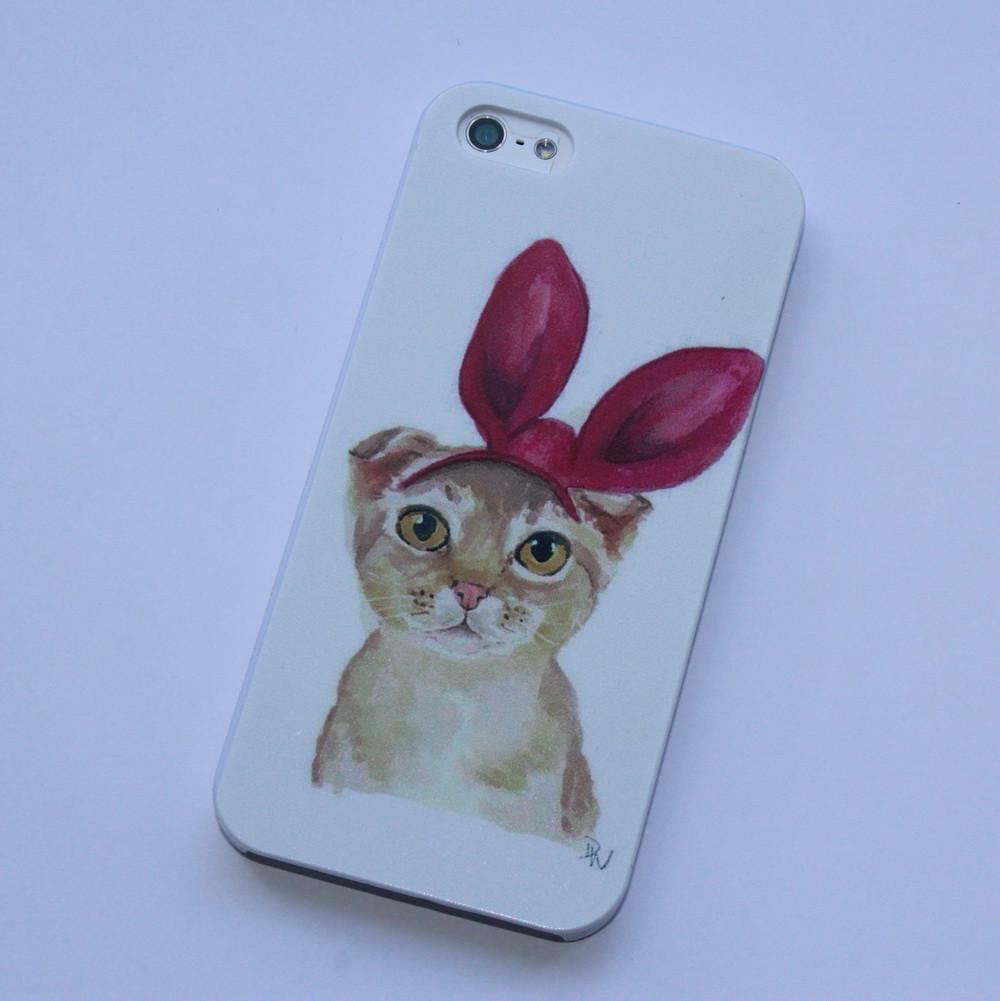 Чехол для iPhone 5 5S SE кошка-зайка