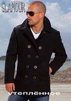 Пальто мужское утепленное, ткань Кашемир + подкладка синтепон 100 цвет черный, супер качество естил №495