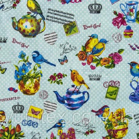 Ткань в стиле прованс Птички  на лазурном фоне в горошек