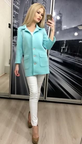 Пиджак женский из неопрена Классик ft-268 бирюзовый