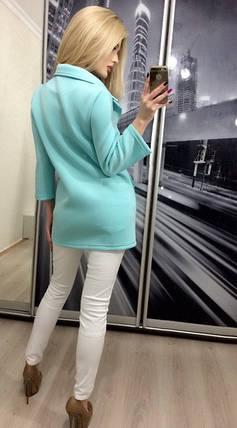 Пиджак женский удлинённый, бирюзовый, фото 2