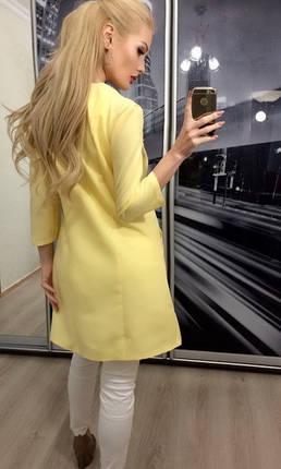 Пиджак женский длинный, бледно-желтый, фото 2