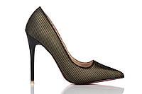 Туфли женские на каблуке Loren Leather Pumps (лорен) бронзово-черные