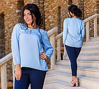 """Элегантная женская блузка в больших размерах 1223-1 """"Креп Кружево"""" в расцветках"""