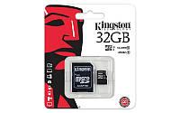 Карта памяти Kingston microSDHC 32Gb Class 10, +SD