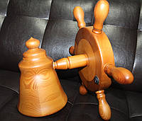 Деревянный светильник Штурвал ручной работы. Подарок в морском стиле