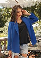 Короткое пальто женское из кашемира, подкладка атлас - Синий
