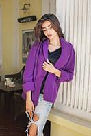Короткое пальто женское из кашемира, подкладка атлас - Фиолетовый