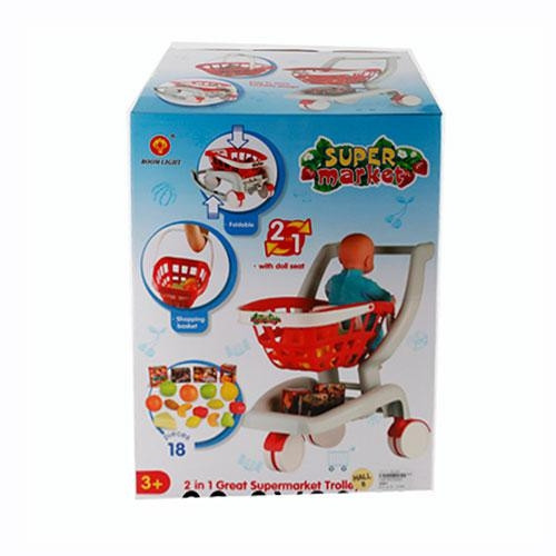 Игрушечная тележка для продуктов 2007: 18 предметов, место для куклы, коробка 44х33х23,5 см, 3+ лет - Интернет магазин «Наш базар» быстро, доступно и качественно в Киеве