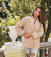 Короткое пальто женское из кашемира, подкладка атлас - Бежевый