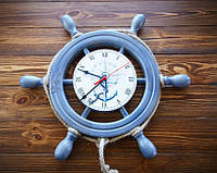 Настенные деревянные часы Штурвал 45 см. Ручная работа